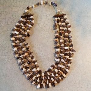VTG.4 STRAND SHELL&BEAD BIB NECKLACE.UNIQUE PIECE!
